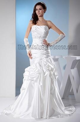 Trumpet/Mermaid Strapless Beaded Sweep/Brush Train Wedding Dress