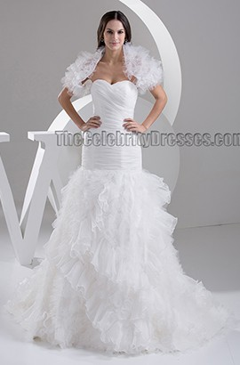 Trumpet/Mermaid Strapless Sweetheart Chapel Train Wedding Dress