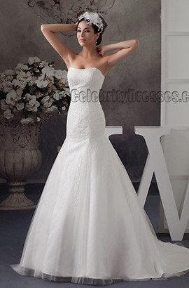 Trumpet/ Mermaid Strapless Sweetheart Beaded Lace Up Wedding Dress