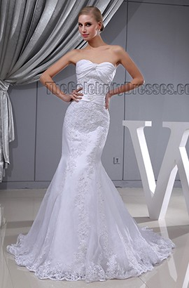 Trumpet/ Mermaid Strapless Sweetheart Lace Wedding Dress