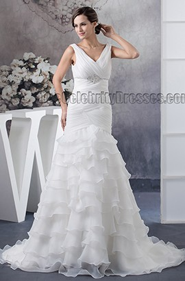 Trumpet /Mermaid V-Neck Sleeveless Beaded Wedding Dresses
