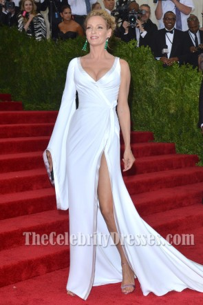 UMA THURMAN White One Sleeve Evening Dress 2015 MET GALA Red Carpet Gown TCD6919