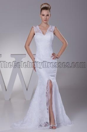 New Style V-Neck Lace Mermaid Wedding Dresses