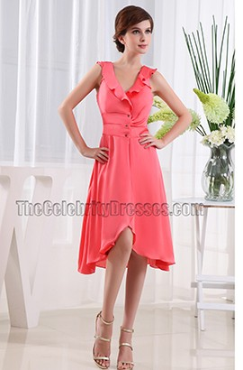 Watermelon V-neck A-Line Cocktail Party Prom Dresses