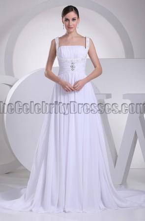 Discount White A-Line Chapel Train Informal Wedding Dresses