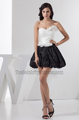 White And Black Strapless Bubble Skirt Party Homecoming Dresses