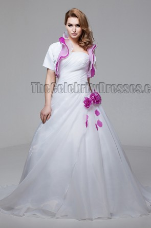 White And Fuchsia Strapless A-Line Wedding Dress With A Wrap