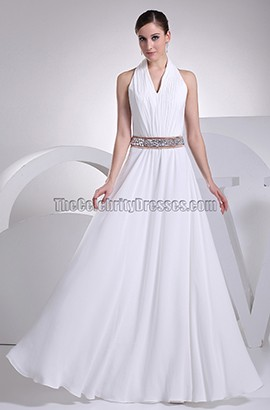 White Halter A-Line Floor Length Evening Gown Wedding Dress