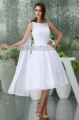 White Knee Length A-Line Cocktail Short Wedding Dresses