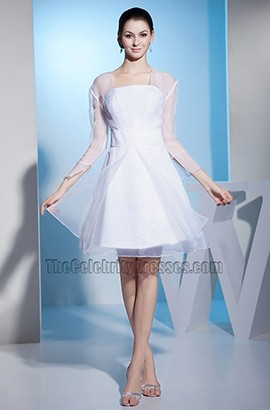 White Long Sleeve Organza Short Wedding Dress Cocktail Dresses