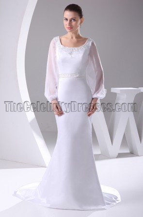 White Long Sleeve Scoop Neckline Wedding Dresses