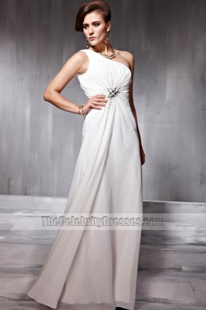 White One Shoulder Full Length Beaded Celebrity Inspired Prom Dress