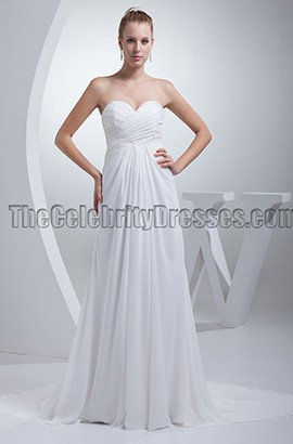 White Strapless A-Line Chiffon Prom Evening Dresses