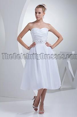 White Strapless A-Line Tea-Length Wedding Dresses