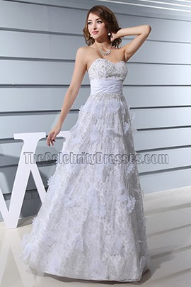White Strapless A-Line Wedding Dress Prom Gown