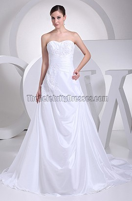 Discount White Strapless Taffeta A-Line Wedding Dresses