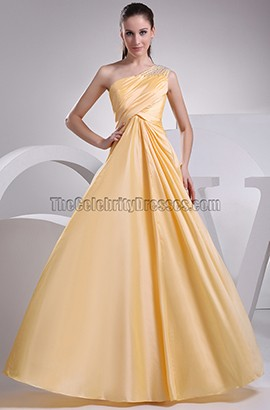 Yellow One Shoulder A-Line Prom Gown Evening Dresses