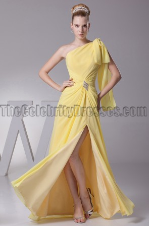 Yellow One Shoulder Prom Gown Evening Formal Dresses