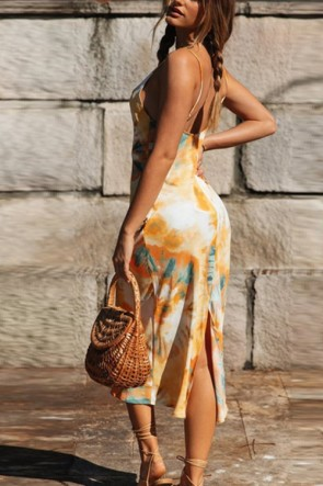 Fashion Tie-dye Split Summer Midi Dress