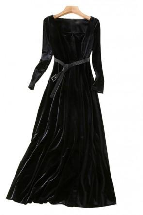 Natalie Portman 2018 Golden Globes Black Long Sleeves A-line Prom Evening Dress TCDTB8413