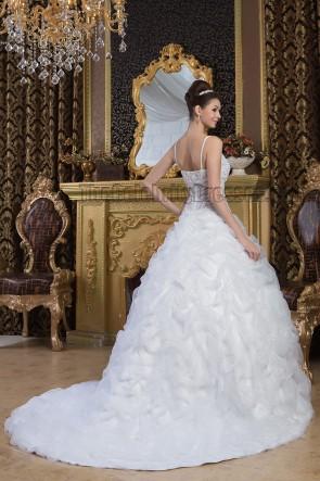 Ball Gown Spaghetti Straps Beaded Chapel Train Wedding Dress