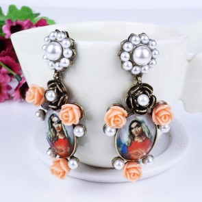 Baroco Virgin Mary  Flower Pearl Drop Earrings TCDE0053