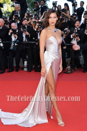 Bella Hadid Cannes Film Festival 2017 Pearl Pink Strapless Thigh-high Split Slip Prom Evening Dress TCD7242