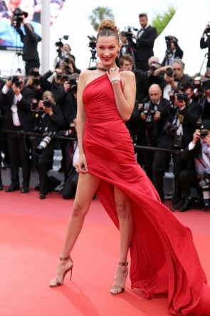 Bella Hadid Red Halter Prom Dress Cannes Film Festival 2019