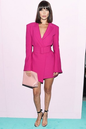 Bella Hadid Pink Belt Blazer dress CFDA Awards