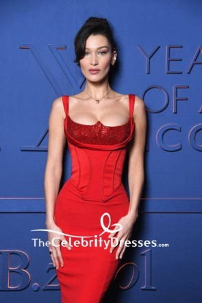 Bella Hadid Red Mermaid Sequins Corset Sexy Prom Dress B.ZERO1 XX Anniversary Global Launch TCD8404