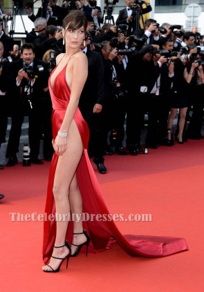 Bella Hadid Red Sexy Evening Dress High Slit Cannes 2016 Red Carpet Gown TCD6674
