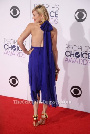 Beth Behrs Royal Blue Halter Cocktail Dress 41st Annual People's Choice Awards TCD6166