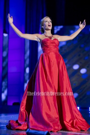 Betty Cantrell Red Strapless Evening Prom Gown Miss America 2015 1