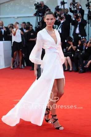 Bianca Balti White High Low Wrap Evenign Dress With Sleeves 2017 Venice Film Festival TCD7486