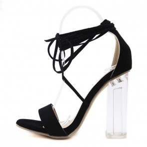 Black Chunky Heel Open-toe Women Tie Suede Summer Sandals Cheap