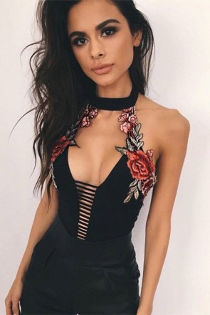 Black halter Deep V-neck Hollow Embroidered Beach Swimsuit Backless Bikini