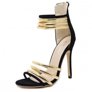 Black Open Toe Hollow Stiletto Heels Sandals For Women