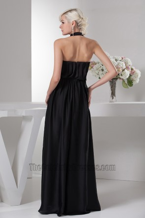 Celebrity Inspired Black A-Line Halter Formal Dress Evening Prom Gown