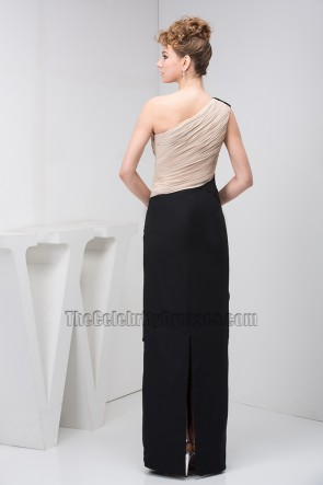 Black And Champagne One Shoulder Chiffon Prom Gown Evening Dress