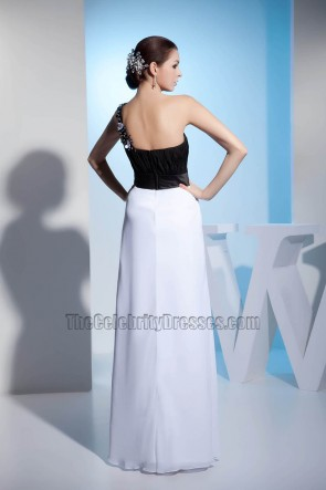 Black And White One Shoulder Prom Gown Evening Formal Dresses