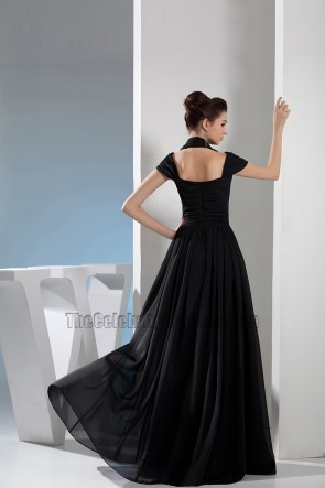 Black Chiffon A-Line Full Length Prom Dress Evening Gown