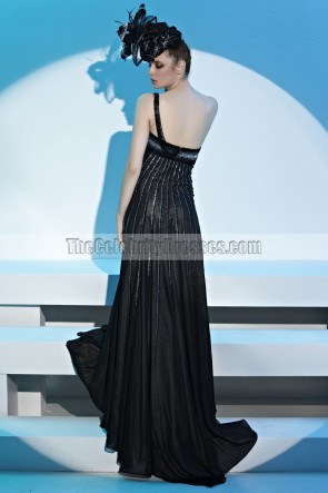 Black One Shoulder A-Line Beaded Evening Dress Prom Gown