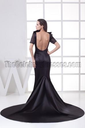 Celebrity Inspired Black Open Back Formal Gown Evening Dresses