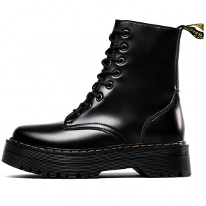 Black Round Toe Platform Combat Boots Side With Zipper
