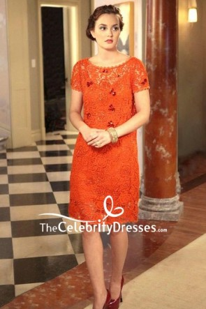 Blair Waldorf Tangerine Lace Short Dress In Gossip Girl