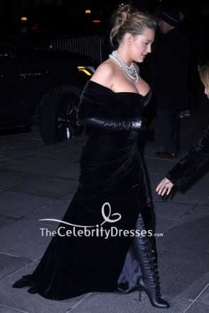 Blake Lively Black Velvet Off-the-shoulder Evening Dress TCD8842