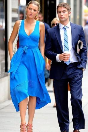 Blake Lively Blue Midi Dress In Gossip Girl