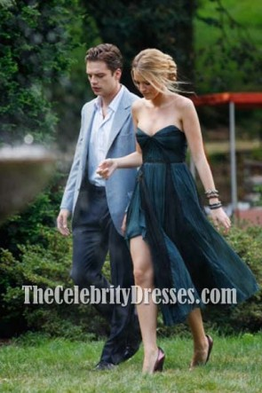 Blake Lively Navy Homecoming Wedding Guest Dress Gossip Girl Fashion
