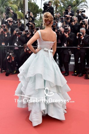 Blake Lively Pregnant Princess Ice Blue Beaded Ball Gown 2016 Cannes Film Festival Red Carpet TCD7634