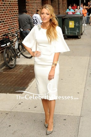 Blake Lively White Cocktail Party Dress With Sleeves Late Show With David Letterman